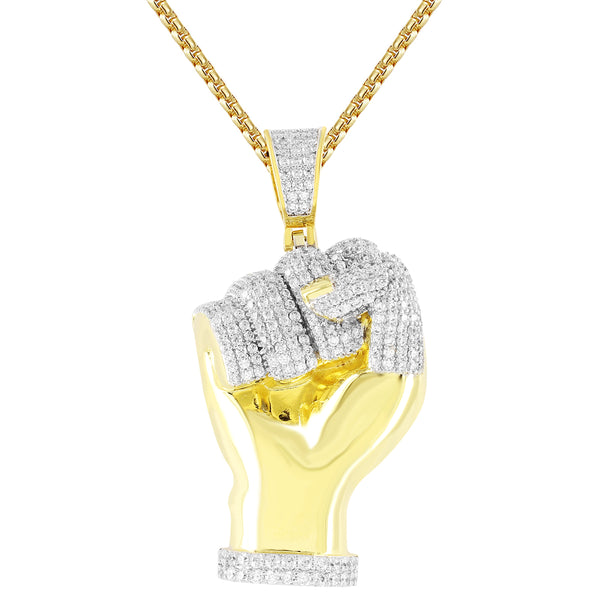 Power of Man Fist  14k Gold Finish Pendant Chain
