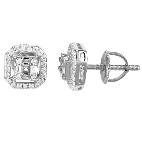 Silver Octagon Micro Pave Baguette Icy Stud Screw Earrings