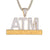 Addicted To Money ATM Bling Rapper Gold Tone Mens Pendant