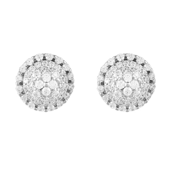 Sterling Silver Round Solitaire Cluster 3D Screw Back Earrings