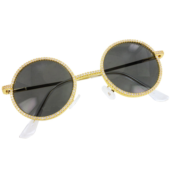 Classic Black Round Bling Frame Rapper Gold Tone Sunglasses