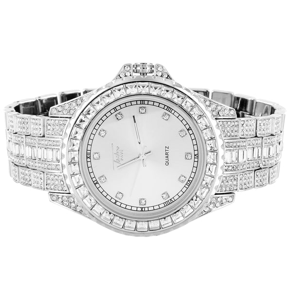 Mens White Finish Baguette Bezel Icy Band Designer Watch