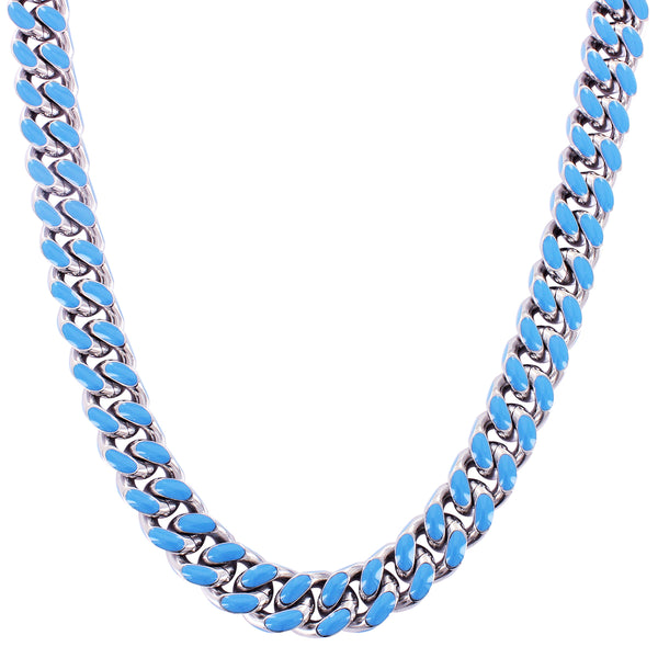 Steel Blue Enamel Miami Cuban Link 13MM Rapper Necklace