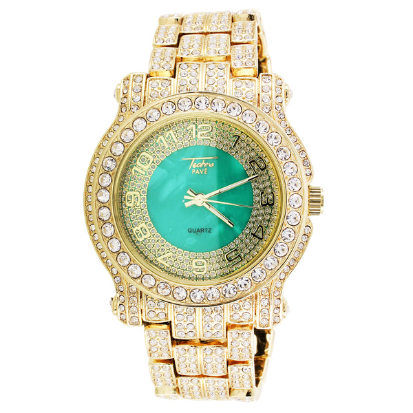 Gold Finish Techno Pave Green Face Bling Rapper Wrist Watch