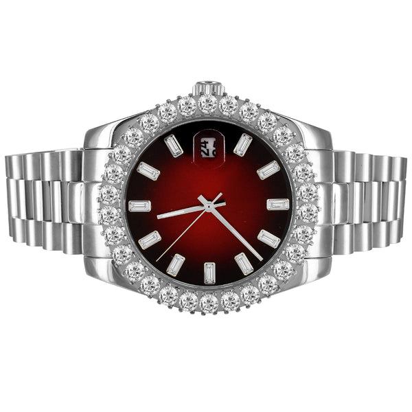 Red Baguette Dial Icy Bezel Stainless Steel 41mm Watch