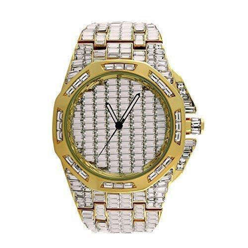 Mens Gold Tone Watch With Baguette Lab Diamond