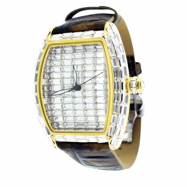 Mens Watch Leather Band Gold Finish