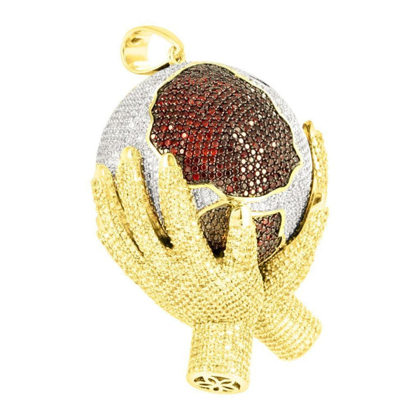 Mens Yellow Gold Finish Lab Diamond Globe Pendant