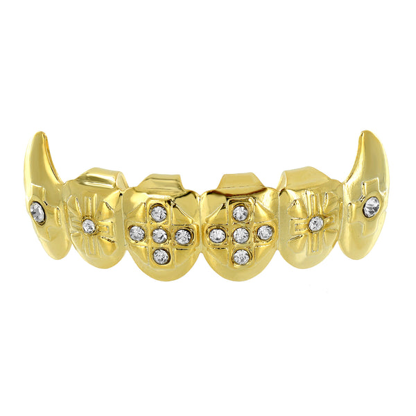 14K Gold Plated Grillz Iced Out Bottom Tooth Fang Grillz