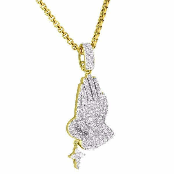 Praying Hands Pendant Rosary Cross Iced Out Hip Hop 14K Gold Finish Necklace Set