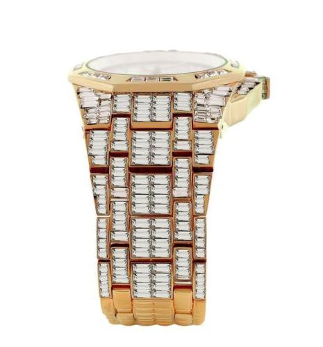 Mens Rose Gold Tone Baguette Lab Diamond Watch