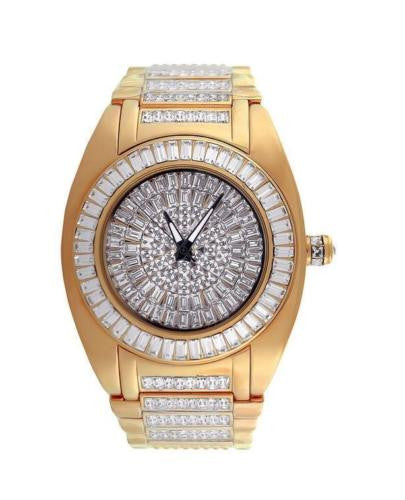 Mens Watch  Round Iced Out Rose Gold Finish