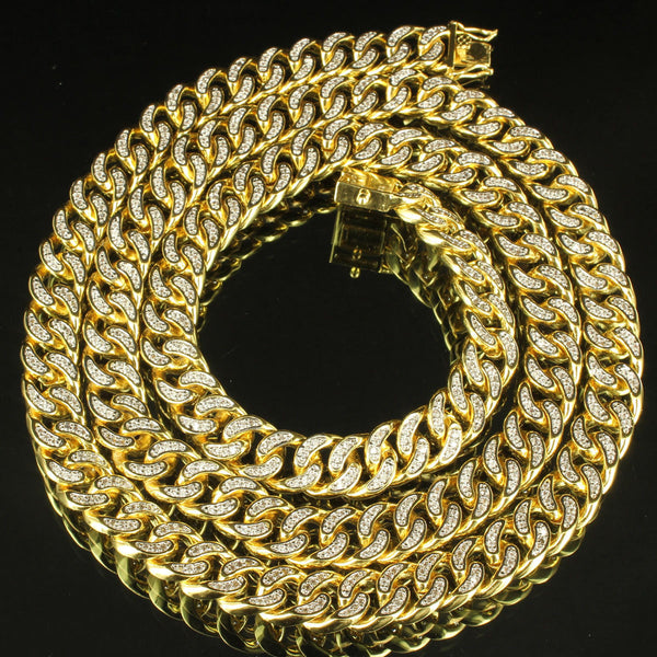 Icy Cuban Link Men Custom Bling 14kGold Finish Miami Bold Fashion Chain Necklace