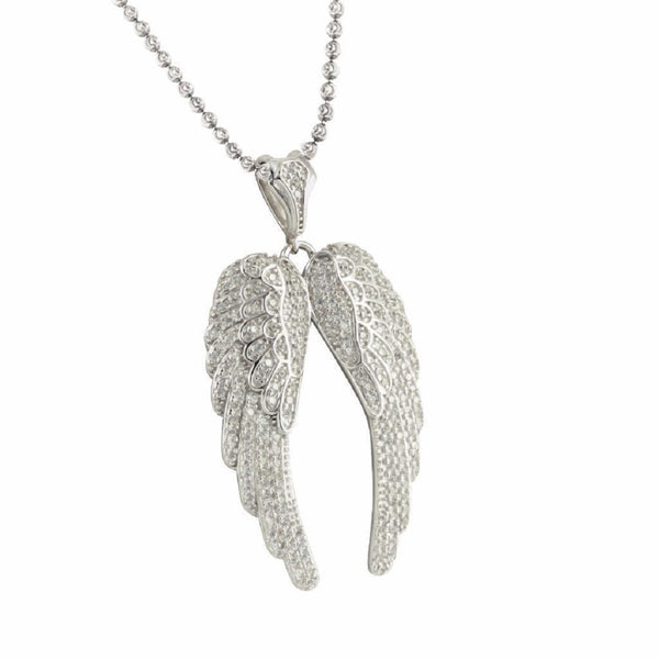 Iced Angel Wings Pendant Chain Combo