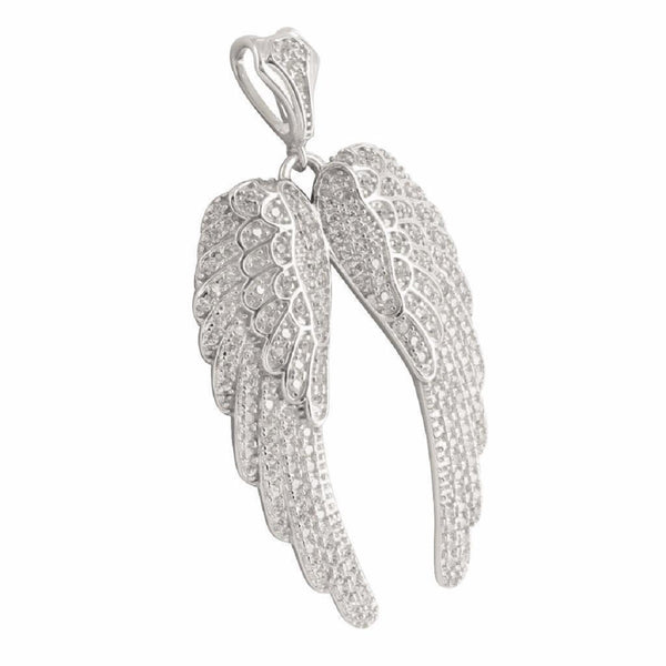 Womens Wings Pendant Sterling Silver