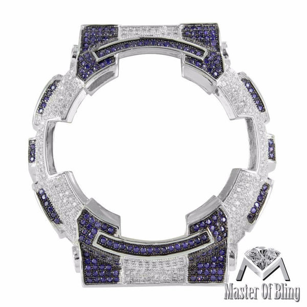 New Iced Out G-Shock GA110 Bezel Purple White Lab Diamond White Gold FInish