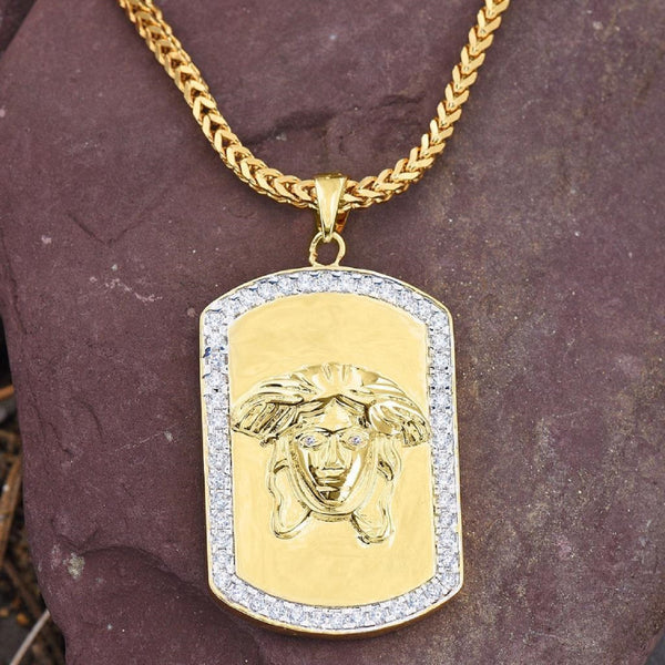 Mens Dog Tag Medusa Pendant Chain Set 18K Gold Necklace