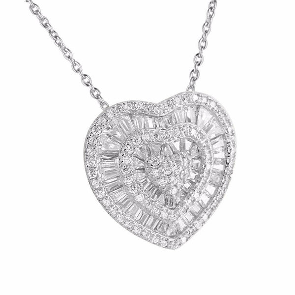 Ladies White Gold Heart Pendant 14K Over 925 Silver