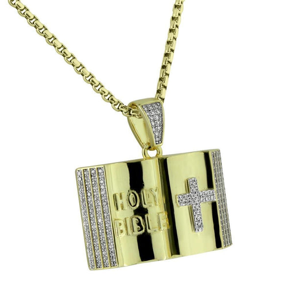 Holy Bible Pendant Cross Gold Tone Stainless Steel Box Necklace Micro Pave New