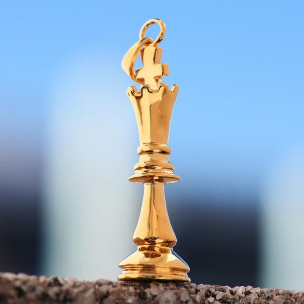 Chess Piece Pawn Pendant 18K Gold Finish Vintage Look