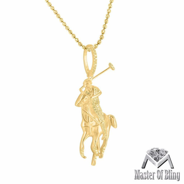 Horse Pendant Necklace Set Yellow Finish Canary Lab Diamond 925 Silver