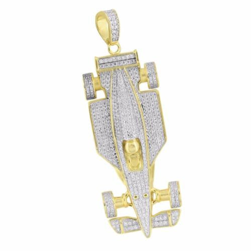 Race Car Design Pendant 14k Gold Over Sterling Silver
