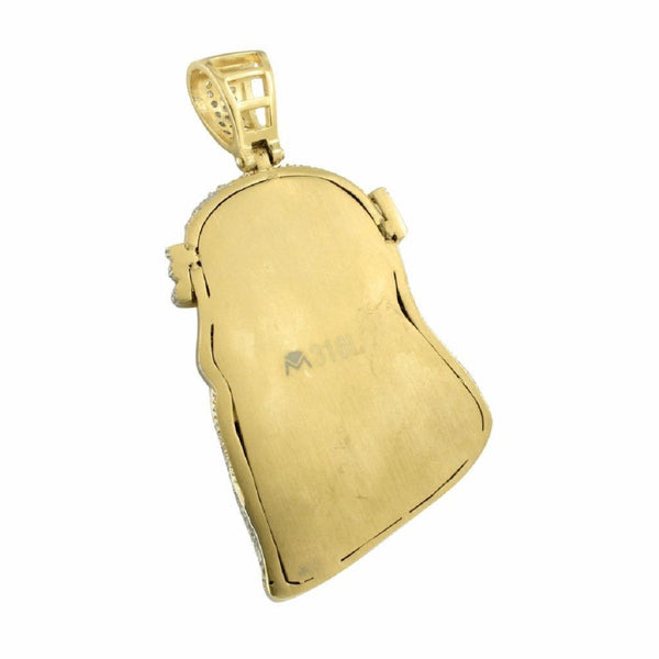 Solid Back Jesus Pendant 14K Gold Over Stainless Steel