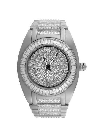 Mens Celeb Wear White Gold Tone Watch