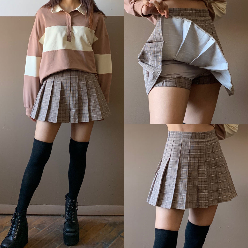 KAWAII PREPPY PLAID PLEATED SKIRT