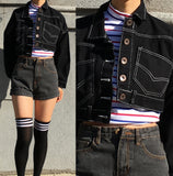 90S KIDS BLACK CROPPED DEINM JACKET