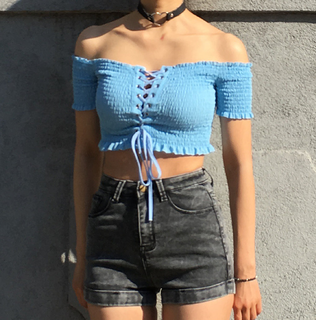 OFF SHOULDER RUFFLE CROP TANK TOP