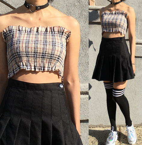 90S KID PLAID TUBE TOP