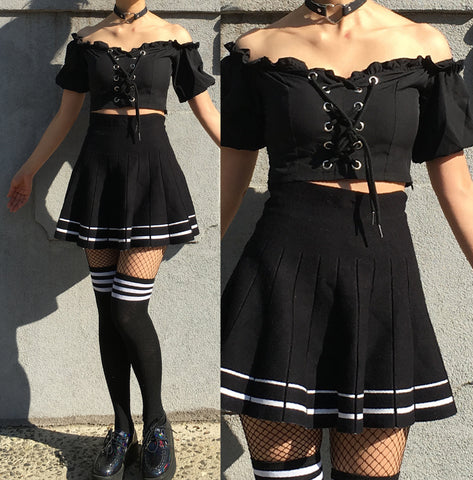FREE SHIPPING -KAWAII TUMBLR GOTH LACE UP CROP TOP