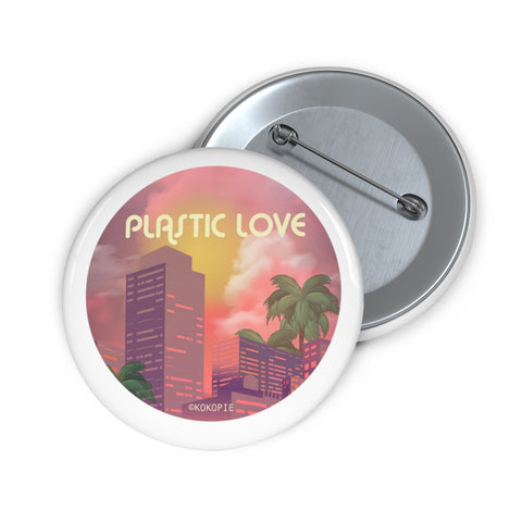80s Japanese City Pop Aesthetic - Plastic Love Pin Button