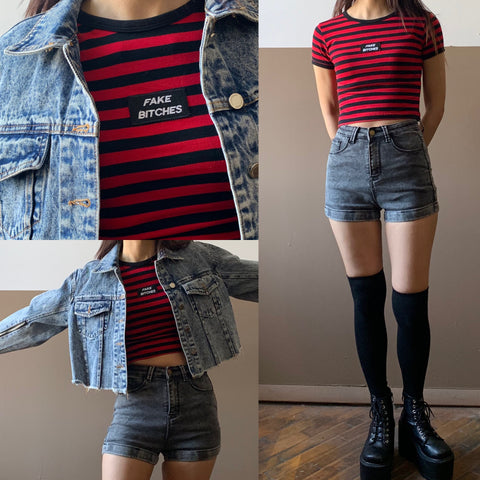 2019 NEW OUTFIT DEAL - FAKE BITCHES STRIPED TOP OUTFIT