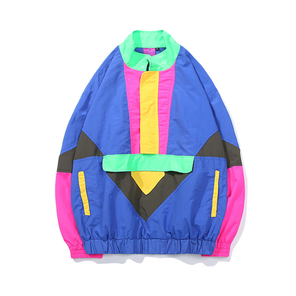2019 NEW COLOR BLOCK UNISEX VINTAGE STYLE 80S JACKET