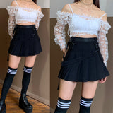 2019 NEW spring/summer KAWAII LACE RUFFLE SEE THROUGH BLOUSE