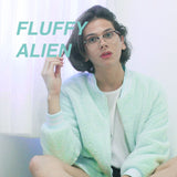 2 YEAR ANNIVERSARY SALE- KOKO FLUFFY ALIEN MINT JACKET