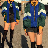 2018 NEW! 90S GRUNGE VINTAGE Green Color Block- UNISEX Windbreaker