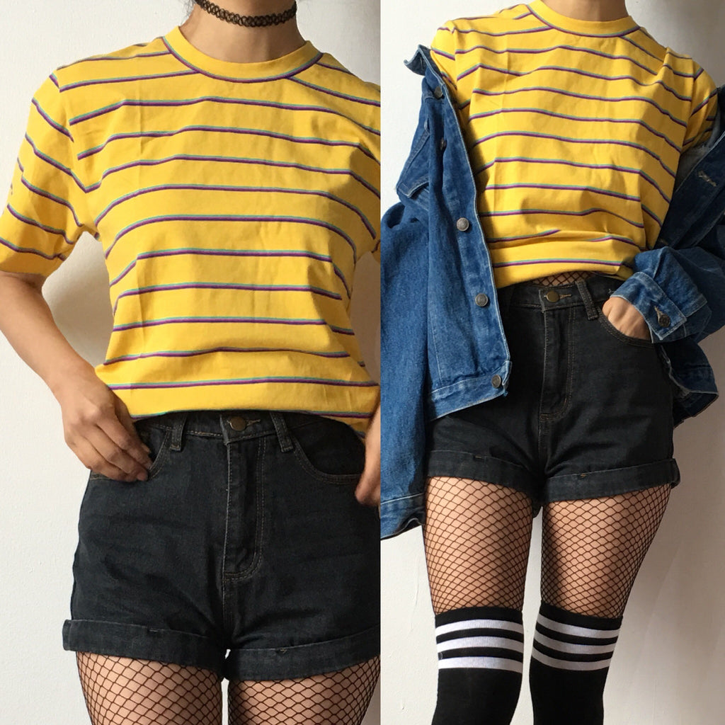FREE SHIP- 90S GRUNGE STRIPED unisex Tee