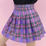 2018 KAWAII LAVENDER RUFFLE -PURPLE PLAID SKIRT