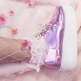 SPECIAL LIMITED ITEM -HOLOGRAM-AESTHETICS-TUMBLR HOLO SILVER CREEPERS