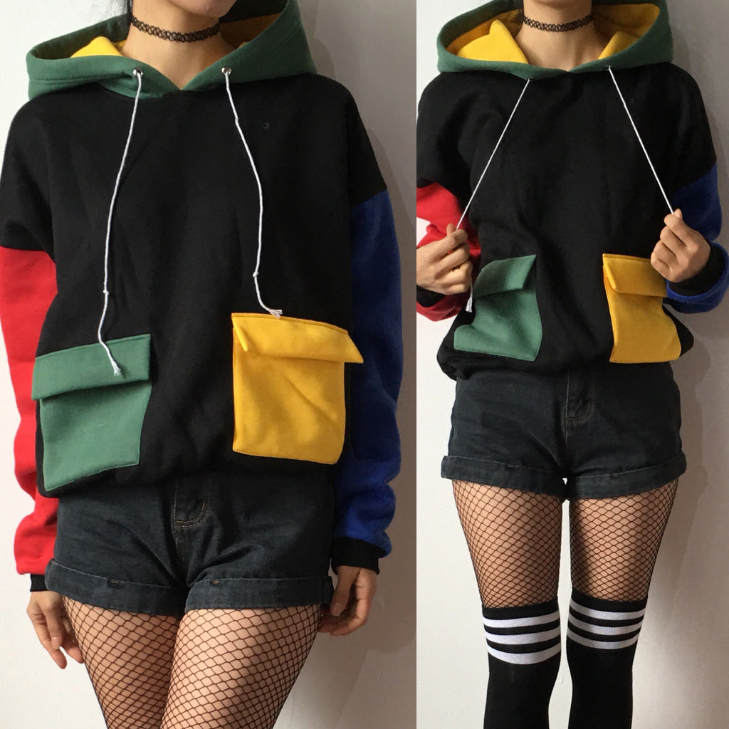 90S KIDS COOL COLOR BLOCK HOODIE jumper - SAMPLE SALE
