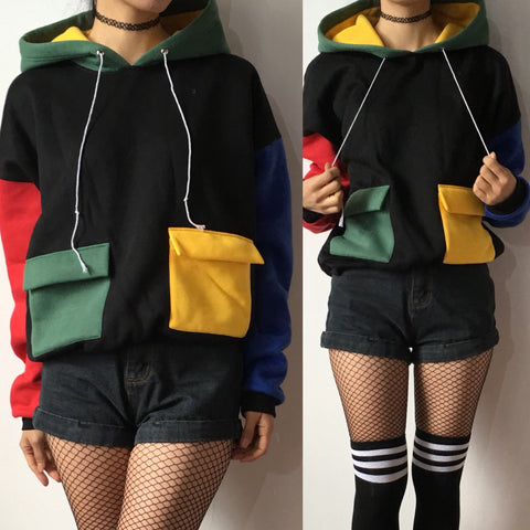 90S KIDS COOL COLOR BLOCK HOODIE jumpe