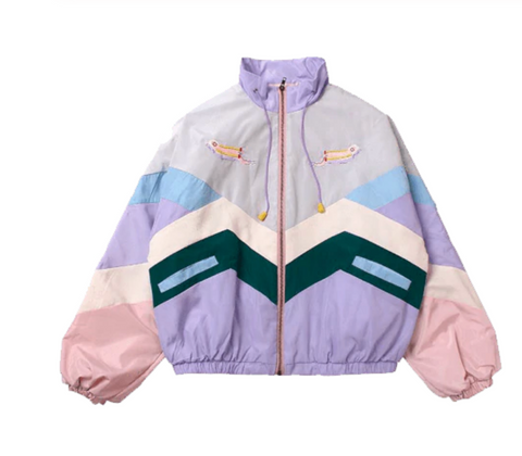 PASETL COLOR BLOCK KOKO LAVENDER BOMBER JACKET