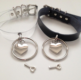 GOTH RING HEART LOCK CHOKER