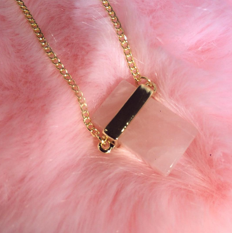 Pink Quartz crystal NATURAL STONE necklace