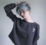 NEW YEAR HOLIDAY SALE -NEW 2017 KOKO ALIEN STRIPED LONG SLEEVE CROPTOP
