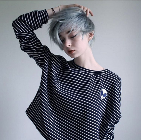KOKO ALIEN STRIPED LONG SLEEVE CROPTOP