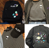 New! Alien crop top 3/4 length sleeve sweater
